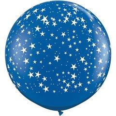 Baloane latex Jumbo 3' inscriptionate Stars-A-Round Sapphire Blue, Qualatex 29267, set 2 buc