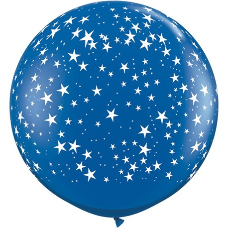 Baloane latex Jumbo 3' inscriptionate Stars-A-Round Sapphire Blue, Qualatex 29267, set 2 buc