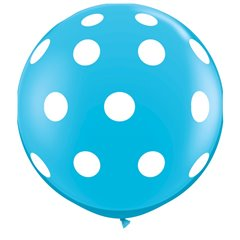 3' Printed Jumbo Latex Balloons,  Big Polka Dots-A-Round Robin's Egg Blue, Qualatex 26175