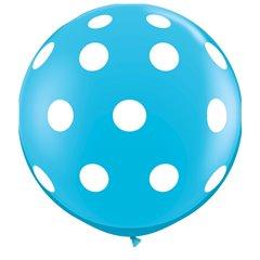 3' Printed Jumbo Latex Balloons,  Big Polka Dots-A-Round Robin's Egg Blue, Qualatex 26175, Pack of 2 pieces