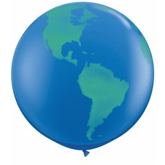 3' Printed Jumbo Latex Balloons,  Globe Dark Blue, Qualatex 28160