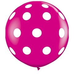 3' Printed Jumbo Latex Balloons,  Big Polka Dots-A-Round Wild Berry, Qualatex 26172, Pack of 2 pieces