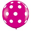 Baloane latex Jumbo 3' inscriptionate Big Polka Dots-A-Round Wild Berry, Qualatex 26172, set 2 buc