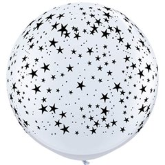 Baloane latex Jumbo 3 ft inscriptionate Stars-A-Round White, Qualatex 29265,1 buc