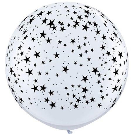 Baloane latex Jumbo 3' inscriptionate Stars-A-Round White, Qualatex 29265, set 2 buc