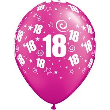 "Baloane latex 11"" inscriptionate Party 18 Magenta, Qualatex 38527, set 25 buc"