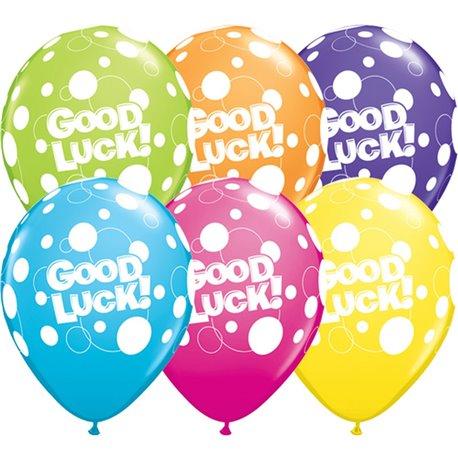 "Baloane latex 11"" inscriptionate Good Luck Dots Asortate, Qualatex 36977, set 25 buc"