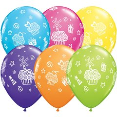 "11"" Printed Latex Balloons, Cupcakes & Presents Asortate, Qualatex 31227"