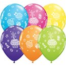 """11"""" Printed Latex Balloons, Cupcakes & Presents Asortate, Qualatex 31227, Pack of 25 Pieces"""