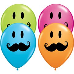 "11"" Printed Latex Balloons, Smile Face Mustache Asortate, Qualatex 60044"