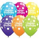 """11"""" Printed Latex Balloons, Birthday Big Polka Dots Asortate, Qualatex 13846, Pack of 50 Pieces"""