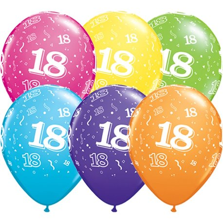 "11"" Printed Latex Balloons, 18-A-Round Asortate, Qualatex 13852, Pack of 50 Pieces"