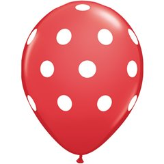 "11"" Printed Latex Balloons, Big Polka Dots Red, Qualatex 29510, Pack of 25 Pieces"