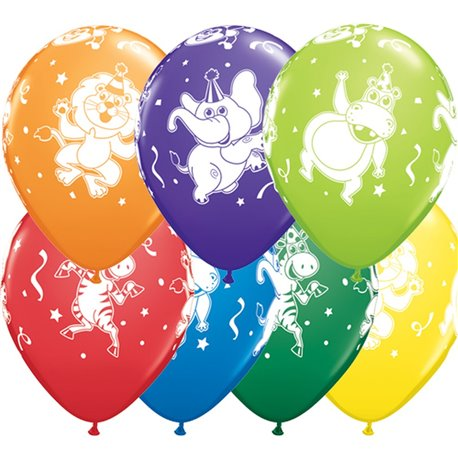 "11"" Printed Latex Balloons, Party Animals Asortate, Qualatex 18459, Pack of 25 Pieces"