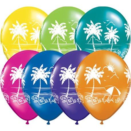 "11"" Printed Latex Balloons, Tropical Vistas Asortate, Qualatex 92516, Pack of 25 Pieces"