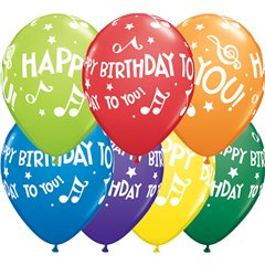 "11"" Printed Latex Balloons, Happy Birthday To You Music Notes Asortate, Qualatex 18461"