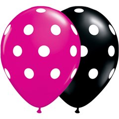 "Baloane latex 11"" inscriptionate Big Polka Dots Asortate, Qualatex 14218, set 25 buc"