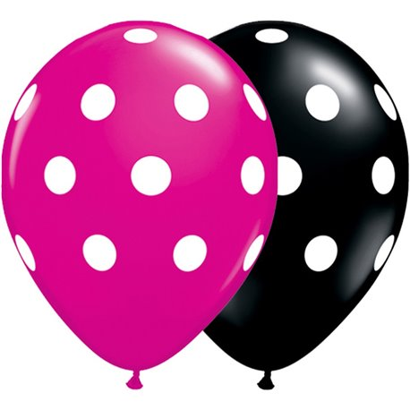 "11"" Printed Latex Balloons, Big Polka Dots Asortate, Qualatex 14218, Pack of 25 Pieces"
