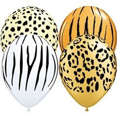 "11"" Printed Latex Balloons, Safari Assortment Asortate, Qualatex 12568"