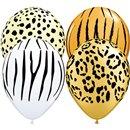 """11"""" Printed Latex Balloons, Safari Assortment Asortate, Qualatex 12568, Pack of 50 Pieces"""
