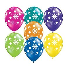 "11"" Printed Latex Balloons, Polka Dots & Circles Asortate, Qualatex 38887"