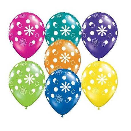 """11"""" Printed Latex Balloons, Polka Dots & Circles Asortate, Qualatex 38887, Pack of 25 Pieces"""