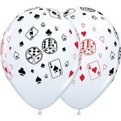"11"" Printed Latex Balloons, Cards & Dice White, Qualatex 39838"