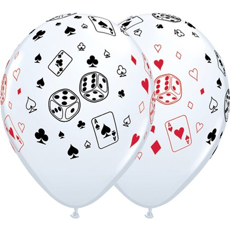 """11"""" Printed Latex Balloons, Cards & Dice White, Qualatex 39838, Pack of 25 Pieces"""