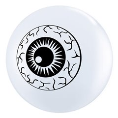 "5"" Printed Latex Balloons, Eyeball TopPrint White, Qualatex 84895"