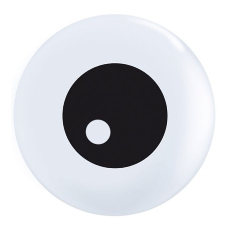"Baloane latex 5"" inscriptionate Friendly Eyeball TopPrint White, Qualatex 60299, set 100 buc"