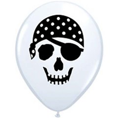 "5"" Printed Latex Balloons, Pirate Skull White, Qualatex 99779, Pack of 100 Pieces"
