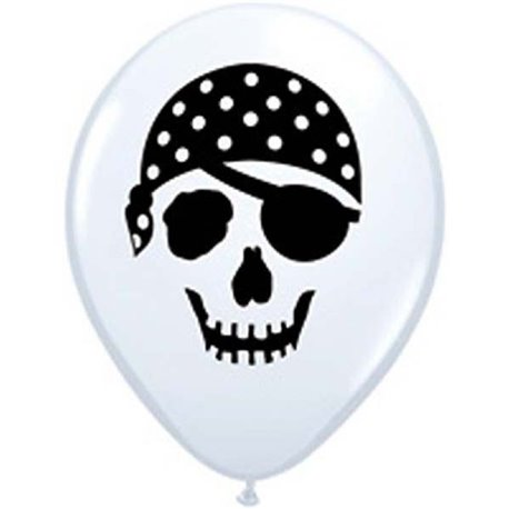 "Baloane latex 5"" inscriptionate Pirate Skull White, Qualatex 99779, set 100 buc"