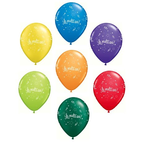 "Baloane latex ""La multi ani"" Carnival Assortment - 11""/28cm, Qualatex Q27078.Carnaval, Set 100 buc"