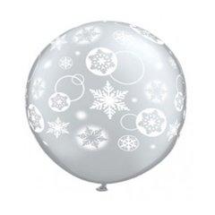 3' Printed Jumbo Latex Balloons, Snowflakes & Circles Diamond Clear, Qualatex 60281