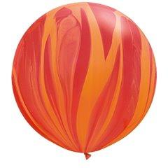 "30"" Jumbo Latex Balloons, Red Orange Rainbow SuperAgate, Qualatex 63759, Pack of 2 Pieces"