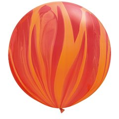 "30"" Jumbo Latex Balloons, Red Orange Rainbow SuperAgate, Qualatex 63759"