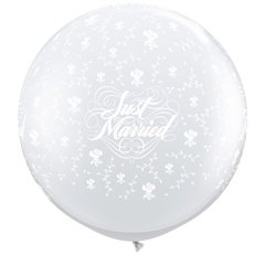 Baloane latex Jumbo 3 ft inscriptionate Just Married Flowers-A-Round Diamond Clear, Qualatex 29209, 1 buc