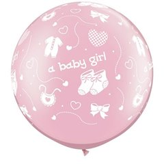"""30"""" Printed Jumbo Latex Balloons A Baby Girl-A-Round Pearl Pink, Qualatex 81487, Pack of 2 Pieces"""