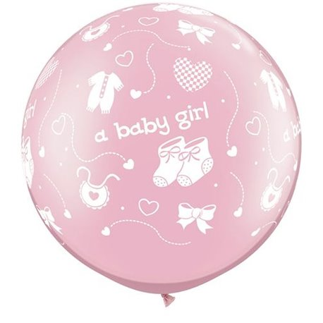 "Baloane latex Jumbo 30"" inscriptionate A Baby Girl-A-Round Pearl Pink, Qualatex 81487, set 2 buc"