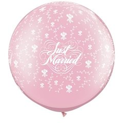 "Baloane latex Jumbo 30"" inscriptionate Just Married Flowers-A-Round Pearl Pink, Qualatex 82640, set 2 buc"