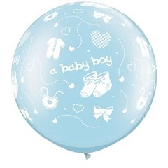 "Baloane latex Jumbo 30"" inscriptionate A Baby Boy-A-Round Pearl Light Blue, Qualatex 81486, 1 buc"