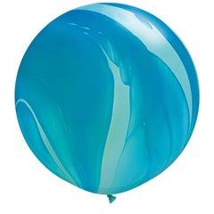 Blue Rainbow SuperAgate Latex Balloon, 30 inch (75 cm), Qualatex 63756, Pack of 2 pieces