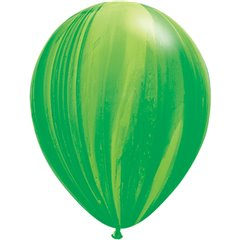 Balon Latex Superagate 11 inch (28 cm), Green Rainbow, Qualatex 91539, set 25 buc