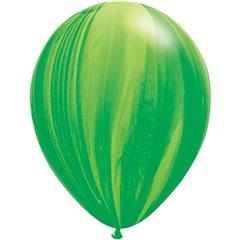 Green Rainbow SuperAgate Latex Balloon, 11 inch (28 cm), Qualatex 91539, Pack of 25 pieces