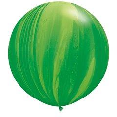 Green Rainbow SuperAgate Latex Balloon, 30 inch (75 cm), Qualatex 63757, Pack of 2 pieces