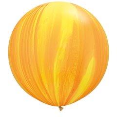 Yellow Orange SuperAgate Latex Balloon, 30 inch (75 cm), Qualatex 63760, Pack of 2 pieces