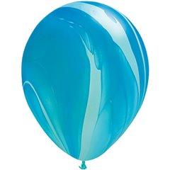 Blue Rainbow SuperAgate Latex Balloon, 11 inch (28 cm), Qualatex 91538