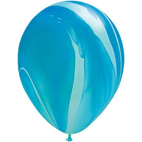 Balon Latex SuperAgate 11 inch (28 cm), Blue Rainbow, Qualatex 91538, set 25 buc