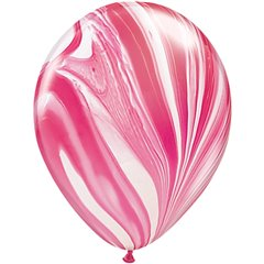 Red White SuperAgate Latex Balloon, 11 inch (28 cm), Qualatex 39920