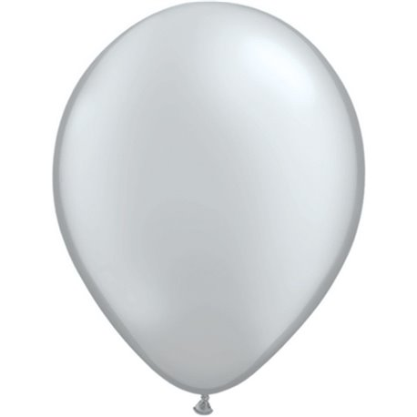 Balon Latex Silver 5 inch (13 cm), Qualatex 43603, set 100 buc